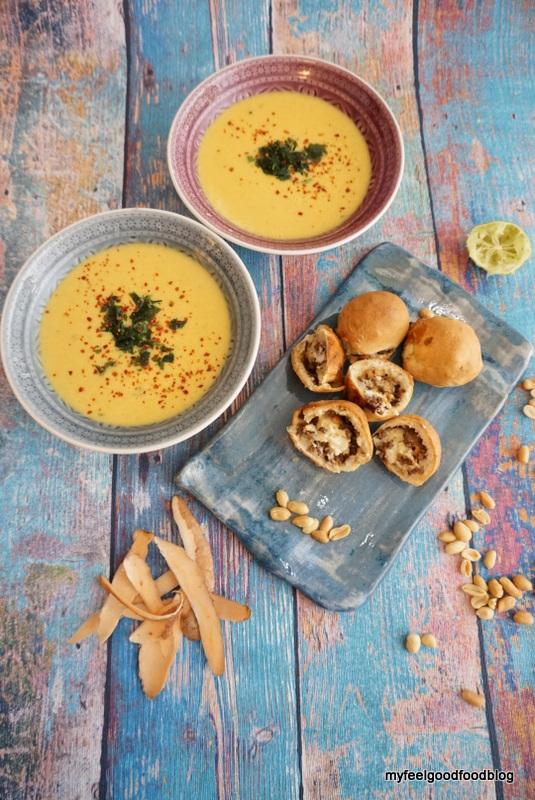 Thai Erdnuss Suppe mit asiatischer Laugenpraline 7
